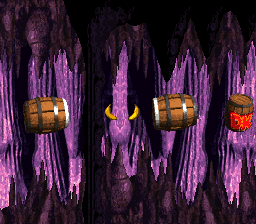 The first Bonus Level in Barrel Cannon Canyon from Donkey Kong Country
