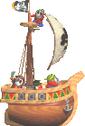 Sprite of several Pirate Guys on a ship from Yoshi's Story.