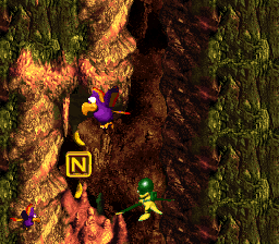 The N in Buzzer Barrage from Donkey Kong Country 3: Dixie Kong's Double Trouble!