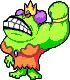 Sprite of Queen Bean with her left arm raised, from Mario & Luigi: Superstar Saga.
