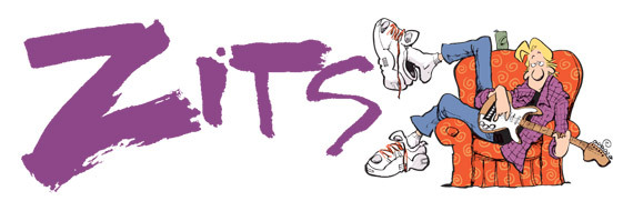 Zits logo, alongside the main character Jeremy
