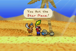 Mario getting a Star Piece from the Nomadimouse in Paper Mario