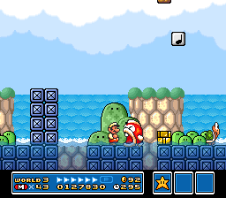 A Boss Bass about to eat Mario in World 3-8