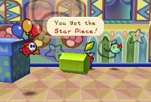 Mario finding a Star Piece near a prism in Shy Guy's Toy Box in Paper Mario