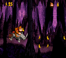 The first bonus room in Jungle Hijinxs from Donkey Kong Country