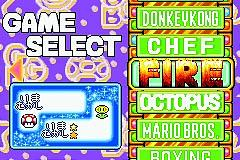 Early screenshot of the Game Select screen