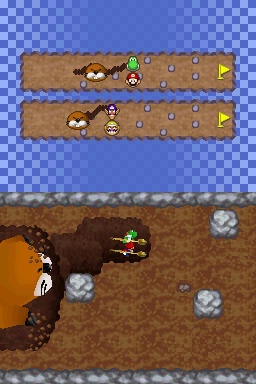 Gameplay of Mole Thrill in Mario Party DS.