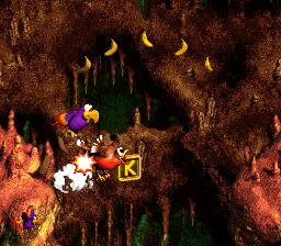 The K in Buzzer Barrage from Donkey Kong Country 3: Dixie Kong's Double Trouble!
