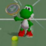 Yoshi charging an overhead shot in Mario Tennis.