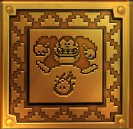 Design on a smashing block from Shifty Smashers, capturing the older Donkey Kong posing awkwardly over a Fireball foe.