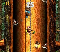 Kiddy Kong and Dixie Kong climb up a rope in the second Bonus Level of Barrel Shield Bust-Up