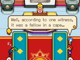 Image of the intro from Mario & Luigi: Bowser's Inside Story with Toadbert speaking about Fawful.