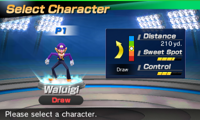 Waluigi's stats in the golf portion of Mario Sports Superstars