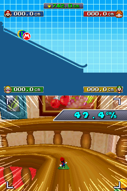 """4-player mode of """"Rail Riders"""" in Mario Party DS"""