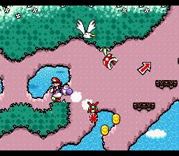 Yoshi collecting a Red Coin from the level Goonie Rides!.