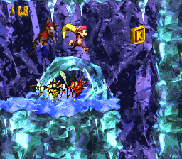 The K in Black Ice Battle (Donkey Kong Country 2: Diddy's Kong Quest)