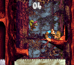 Kiddy Kong and Dixie Kong reach the end of the first Bonus Level in Ripsaw Rage
