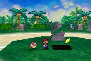 Mario finding a Star Piece under a hidden panel near the Raven staue in Yoshi's Village from Paper Mario