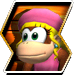 Dixie Kong's character selection icon from Donkey Kong Barrel Blast.