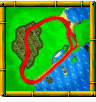 Treasure Caves course icon from Diddy Kong Racing DS.