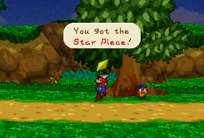 Mario finding a Star Piece in the tree near the Goomba King's Fortress in Paper Mario.