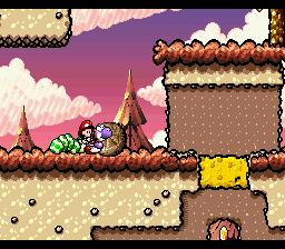 Yoshi pushing a Chomp Rock in the level Chomp Rock Zone.