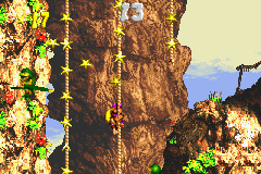 Dixie Kong in the first Bonus Level of Cliffside Blast in Donkey Kong Country 3 for Game Boy Advance