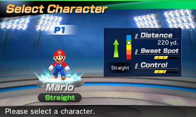 Mario's stats in the golf portion of Mario Sports Superstars
