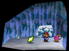 Mario finding a Star Piece in the cave near Crystal Palace in Paper Mario