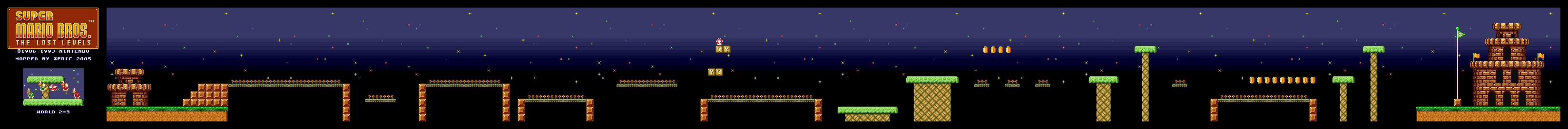 Map of World 2-3 (Super Mario All-Stars version)