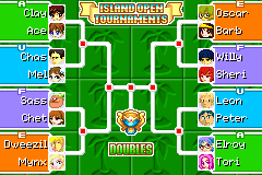 The Island Open Doubles Bracket in Mario Tennis: Power Tour.