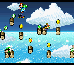 Yoshi and Baby Mario are targeted by Green Gloves in the level Kamek's Revenge