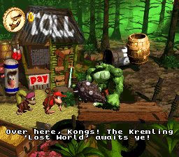 Klubba's Kiosk in Donkey Kong Country 2: Diddy's Kong Quest.