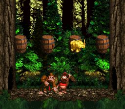 The first Bonus Level in Forest Frenzy from Donkey Kong Country