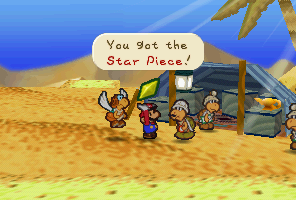 Mario getting a Star Piece from Kolorado for Parakarry's mail delivery in Dry Dry Desert.