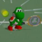 Yoshi charging a backhand shot in Mario Tennis.