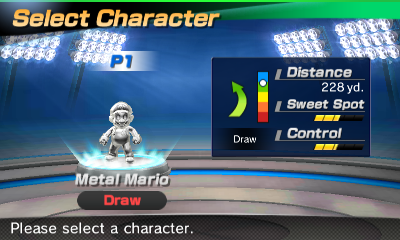 Metal Mario's stats in the golf portion of Mario Sports Superstars