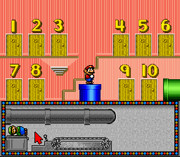 Mario in a hotel. Not the one you're thinking of, though.