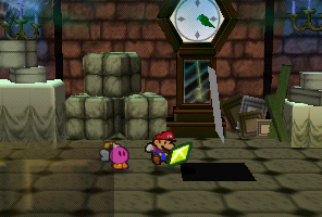 Mario finding a Star Piece under a hidden panel in the clock room in Boo's Mansion in Paper Mario