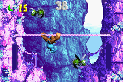 Kiddy Kong in the second Bonus Level of Ropey Rumpus in the Game Boy Advance remake