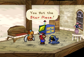 Mario getting a Star Piece from Merlow in Paper Mario