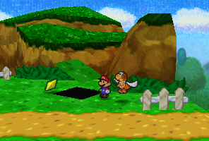 Mario finding a Star Piece under a hidden panel near Goomba King's Fortress in Paper Mario