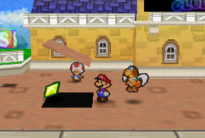 Mario finding a Star Piece under a hidden panel near the Toad Town dock in Paper Mario