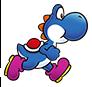 Blue Yoshi running in Super Mario Run.