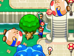 Mario and Luigi revealing a Mushroom Ball in Toad Town Mall
