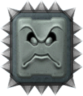 A sprite of a Big Thwomp from New Super Mario Bros. Wii.