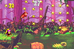 Diddy Kong and Dixie Kong in the first Bonus Level of Mudhole Marsh in the Game Boy Advance version