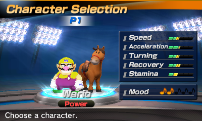 Wario's stats in the horse racing portion of Mario Sports Superstars