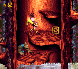Dixie Kong and Kiddy Kong find the letter O of Ripsaw Rage