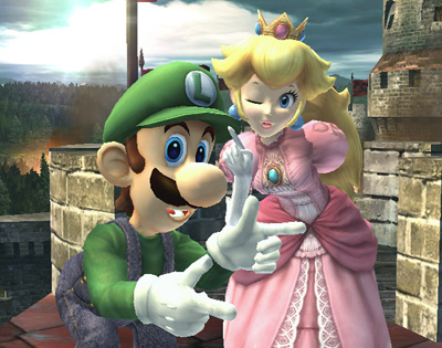 A picture of Peach and Luigi in Super Smash Bros. Brawl.